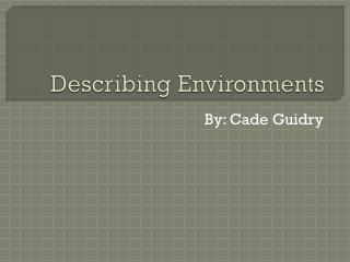 Describing Environments