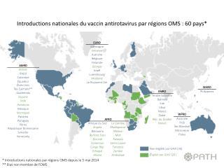 * Introductions nationales par régions OMS depuis le  5 mai 2014 ** Etat non membre de l'OMS