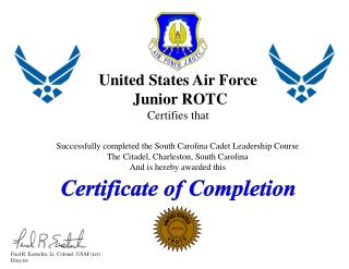 United States  Air Force Junior ROTC Certifies that