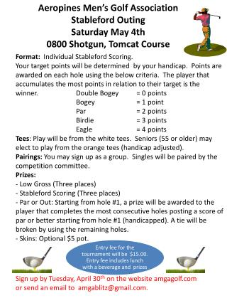 Aeropines Men's Golf Association   Stableford Outing Saturday May 4th 0800 Shotgun, Tomcat Course