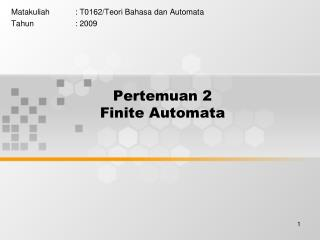 Pertemuan  2 Finite Automata