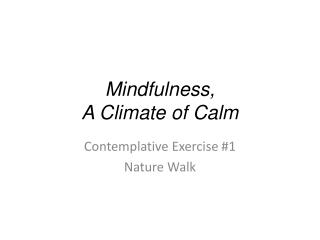 Mindfulness,  A Climate of Calm