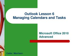 Outlook  Lesson  6 Managing Calendars and Tasks