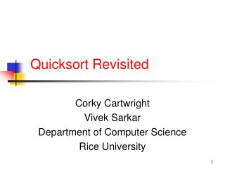 Quicksort  Revisited