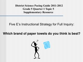 Five E s Instructional Strategy for Full Inquiry:  Which brand of paper towels do you think is best