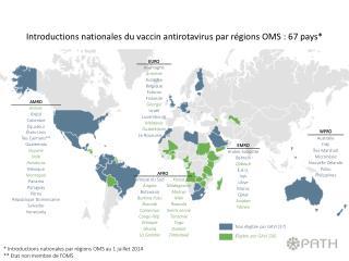 * Introductions nationales par régions OMS  au  1  juillet 2014 ** Etat non membre de l'OMS