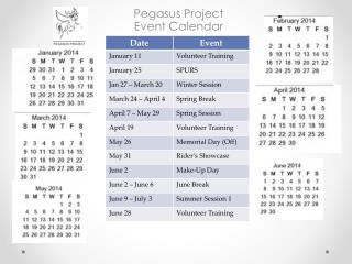 Pegasus Project  Event Calendar