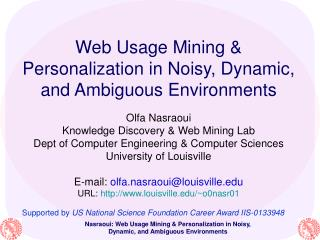 Web Usage Mining   Personalization in Noisy, Dynamic, and Ambiguous Environments