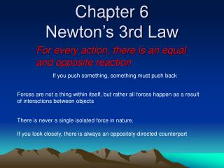 Chapter 6 Newton s 3rd Law