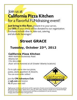 Street GRACE Tuesday, October 23 rd , 2012