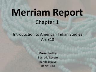 Merriam Report  Chapter 1