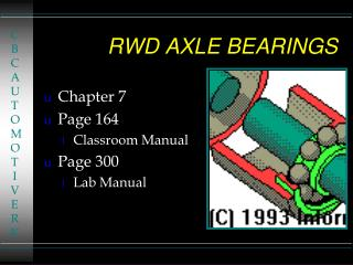 RWD AXLE BEARINGS