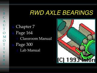 RWD AXLE BEARINGS