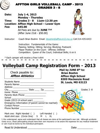 AFFTON GIRLS VOLLEBALL CAMP -  2013 GRADES 3 - 8