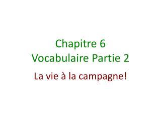Chapitre  6 Vocabulaire Partie  2