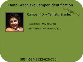 Camper I.D. –  Yelnats , Stanley