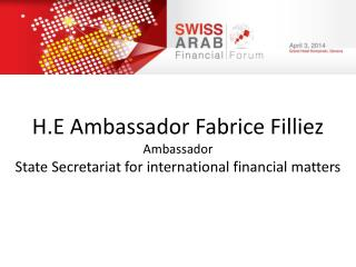 H.E Ambassador  Fabrice Filliez Ambassador State  Secretariat for international financial matters