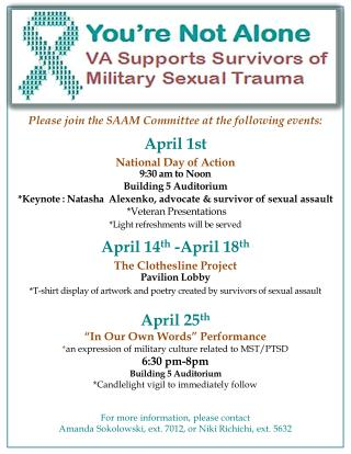 Please  join the SAAM Committee at the following  events: April 1st National Day of Action