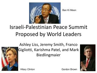 Israeli-Palestinian Peace Summit Proposed by World Leaders