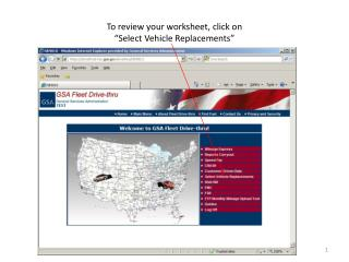 """To review your worksheet, click on  """"Select Vehicle Replacements"""""""