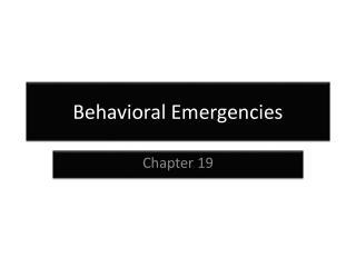 Behavioral Emergencies