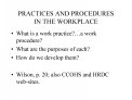 PRACTICES AND PROCEDURES  IN THE WORKPLACE