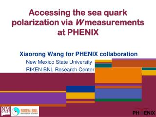 Accessing the sea quark polarization via  W  measurements  at  PHENIX