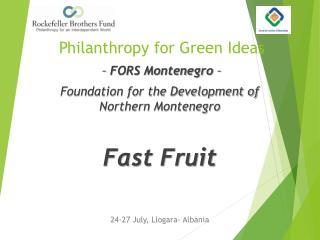 Philanthropy for Green  Ideas