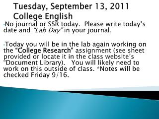 Tues day , September  13,  2011 College English