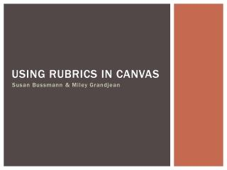 Using rubrics in canvas