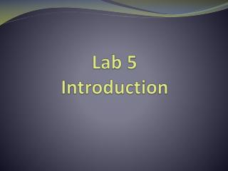 Lab 5 Introduction