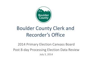 Boulder County Clerk and Recorder's Office