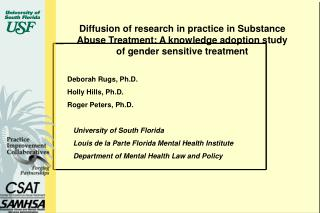 Diffusion of research in practice in Substance Abuse Treatment: A knowledge adoption study of gender sensitive treatment