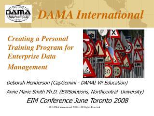 Creating a Personal Training Program for Enterprise Data Management