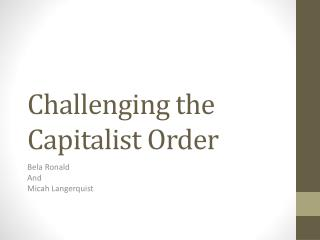 Challenging the Capitalist Order