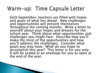 Warm-up:  Time Capsule Letter
