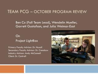 Team PCG  – October Program Review