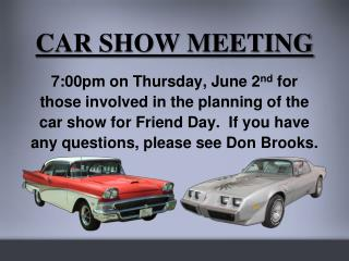 CAR SHOW MEETING