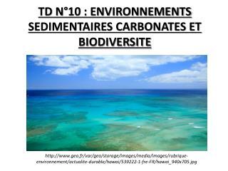 TD N°10 : ENVIRONNEMENTS SEDIMENTAIRES CARBONATES ET BIODIVERSITE