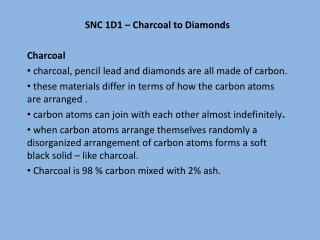SNC 1D1 – Charcoal to Diamonds Charcoal