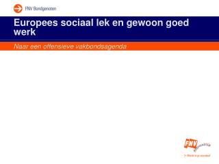 Europees sociaal lek en gewoon goed werk