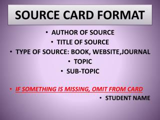 SOURCE CARD FORMAT