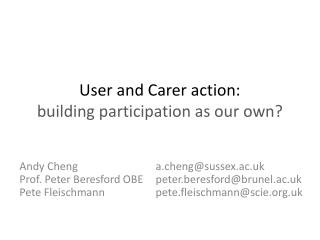 User and Carer action: building participation as our own?