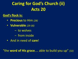 Caring for God's Church (ii) Acts 20