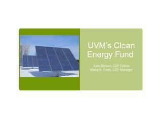 UVM's Clean Energy Fund