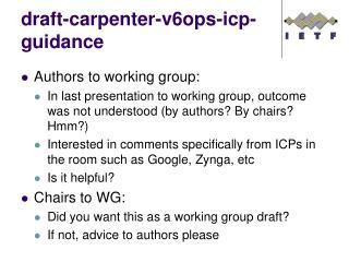 draft -carpenter-v6ops-icp-guidance