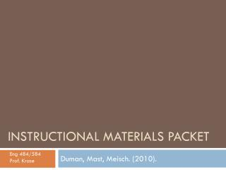 Instructional Materials Packet
