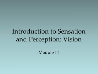 Introduction to Sensation and Perception: Vision Module 11