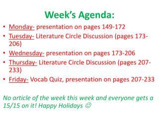 Week's Agenda: