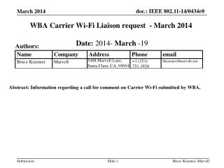 WBA Carrier Wi-Fi Liaison request   -  March 2014